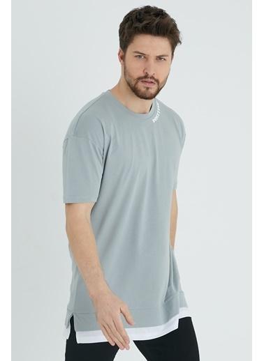 XHAN Vizon Baskılı Garnili T-Shirt 1Kxe1-44637-29 Gri